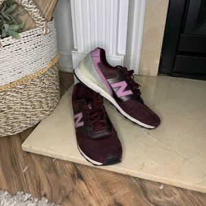 Burgundy and light purple sneakers